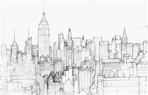 york city skyline pencil drawing sketch coloring page