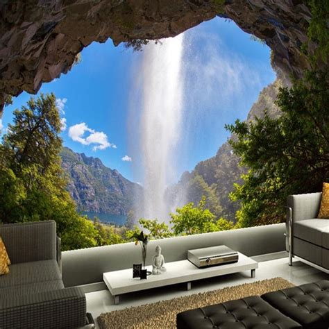 custom  photo wallpaper cave waterfall natural landscape