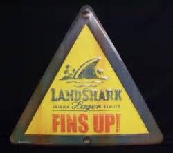 Landshark Lager Fins Up Jimmy Buffet Beer Bar Tin Tacker Sign