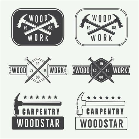 set  vintage carpentry labels emblems  logo stock
