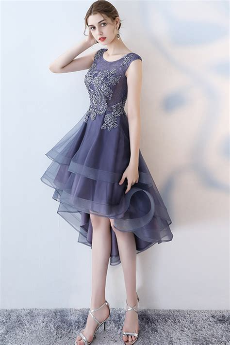 Stylish navy blue tulle high low halter sleeves homecoming ...