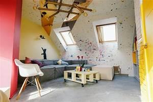 Bright, Attic, Interior, Design, With, Diagonal, Furniture, Arrangement