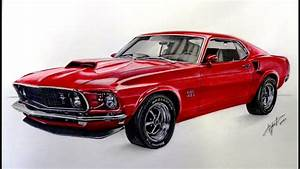 Drawing Ford Mustang 1969