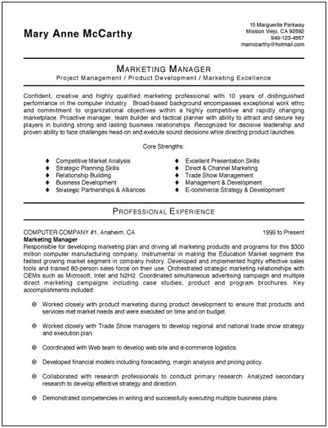 Marketing Manager Experience Resume by Sle Marketing Resume Sle Resumes