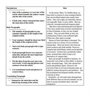 Article Summary Template Example