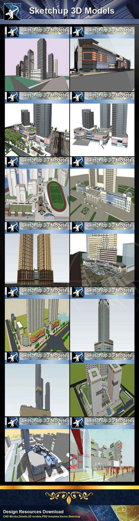 ★Best 20 Types of City Residential Building Sketchup 3D