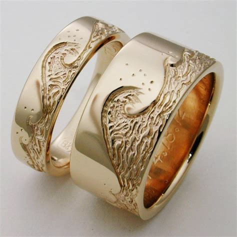 eastbourne 1 a titanium ring with waves titanium wedding rings handcrafted by exotica jewelry