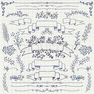 Hand Drawn Doodle Design Elements  Decorative Floral