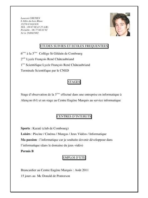 Cv Pour Stage by Exemple Curriculum Vitae Stage 3eme Laboite Cv Fr