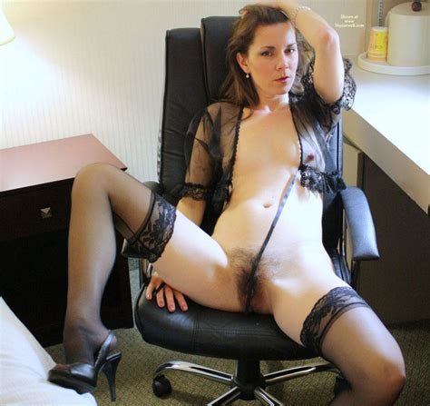 Naked Milf In Black Sexy Lingerie At Hotel Desk January