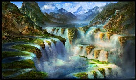 Waterfall Scene By Georgelovesyart On Deviantart