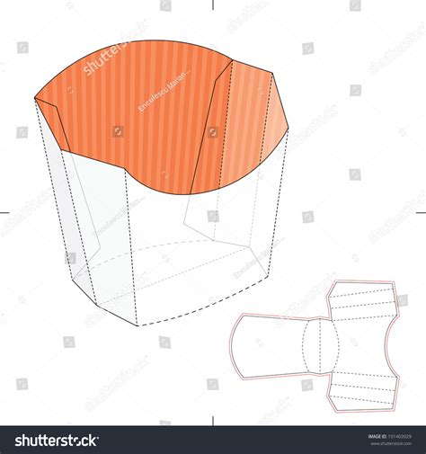 Fries Packaging Template by Fries Disposable Paper Box Die Stock Vector