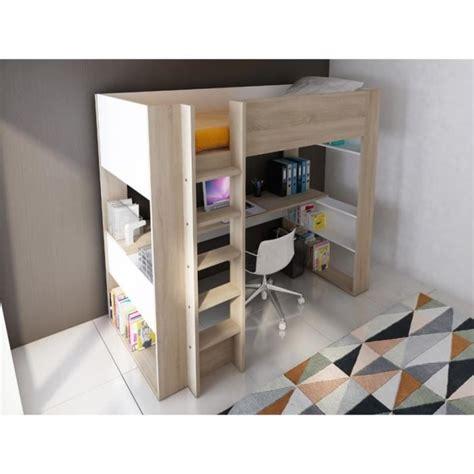 lit bureau pas cher lit mezzanine noah avec bureau et rangements intégrés