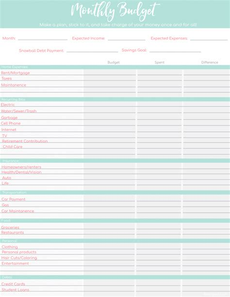 printable budget worksheets   templates