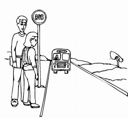 Bus Coloring Pages Stop Take Passangers Bertie