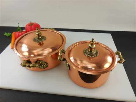 sold bongusto italy pair copper tinned cookware casserole pots lids olde kitchen