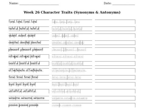 Character Traits (synonyms & Antonyms) Worksheet For 1st