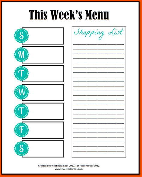 printable menu template 6 printable weekly planner template bookletemplate org