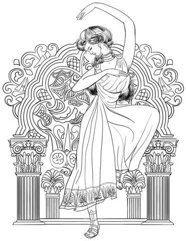 greek woman dance coloring page  printable coloring