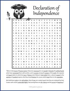 declaration  independence word search  puzzles