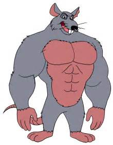 Cartoon Rat with Muscles