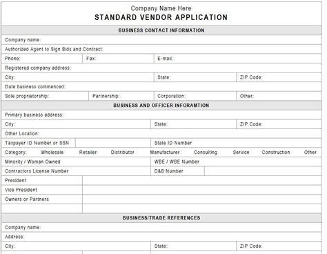vendor application template vendors event planning template business