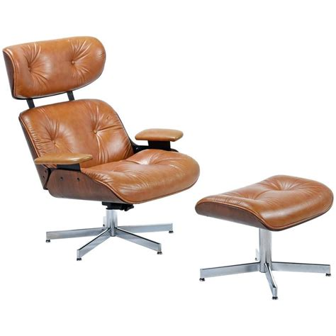 mid century modern eames style lounge chair and ottoman at