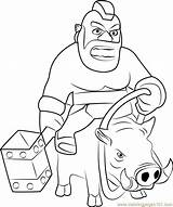 Hog Rider Clash Clans Coloring Pages Boar Printable Riding Coloringpages101 A4 Categories sketch template