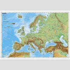 Europakarte Mit Ländern, Flüssen, Gebirge Im