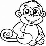 Monkey Coloring Cartoon Smile Sheets Monkeys Drawing Crafts Drawings Children Ingrahamrobotics Mamvic sketch template