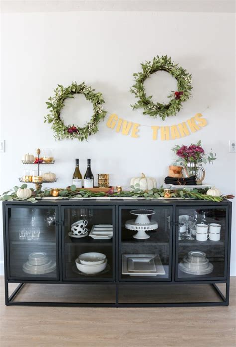Decorating A Sideboard by Thanksgiving Sideboard Decor Entertaining Ideas