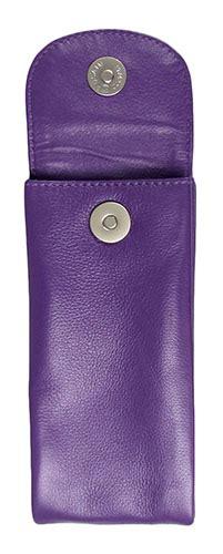 leather double purple eyeglass case