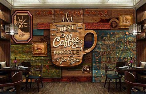motif wallpaper dinding cafe ide desain  retro