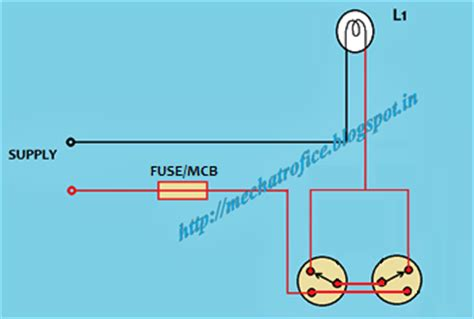 Circuit Diagram For Staircase Wiring by Staircase Wiring Mechatrofice