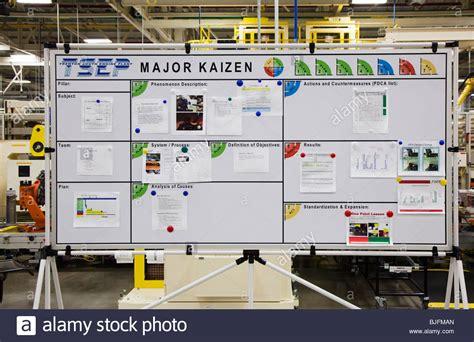 Kaizen Board At Chrysler Engine Plant Stock Photo
