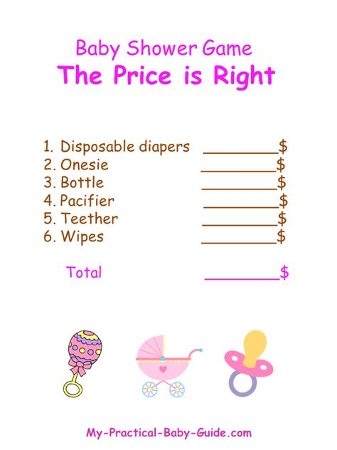baby shower price is right 7 best images of free printable price is right prices