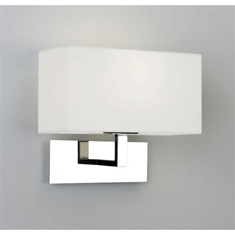 park chrome wall light with square white fabric shade