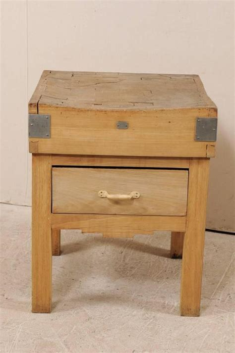 Vintage Swedish Butcher Block Side Table With Geometric