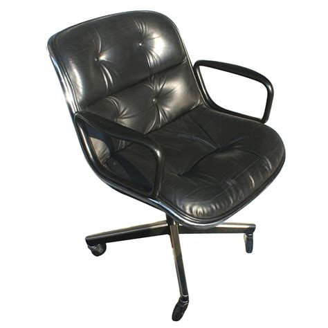 Knoll Pollock Chair Replica by Knoll Pollock Executive Swivel Arm Chair Black Leather Ebay