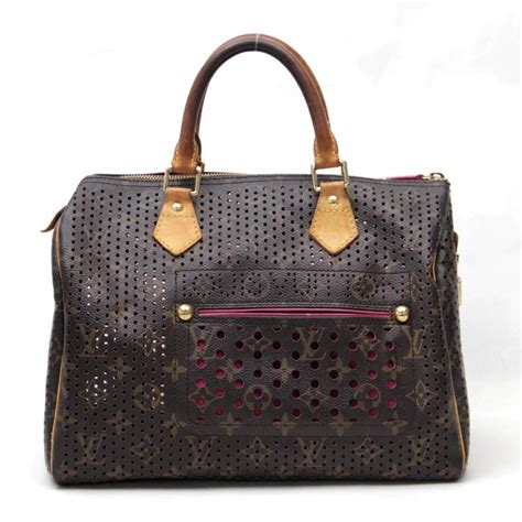 auth louis vuitton monogram perforated speedy  handbag