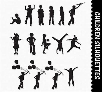 Silhouette Children Silhouettes Child Clipart Clip Playing
