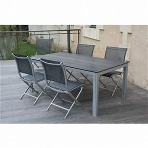 Table Resine Bois : table de jardin alu imitation bois ~ Teatrodelosmanantiales.com Idées de Décoration
