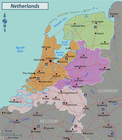 large detailed administrative  road map  netherlands