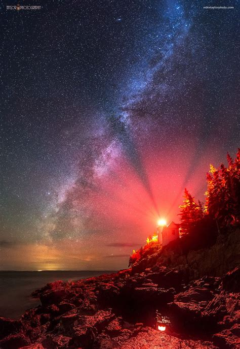 The Milky Way Stretches Across The Sky Next To Bass Harbor