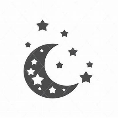 Moon Stars Clipart Silhouette Moons Svg Shooting