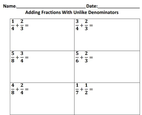 worksheets with adding fractions with unlike denominators pin on math
