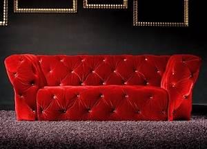 Canapé Velours Rouge : canap 3 places velours rouge royal chesterfield ~ Teatrodelosmanantiales.com Idées de Décoration