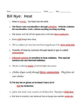 bill nye heat video questions science movies bill nye science movies middle school science