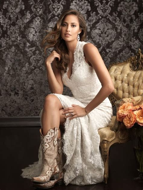 lace wedding dresses  cowboy boots happily