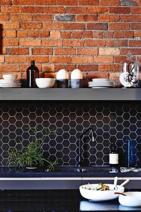 black brick tiles kitchen 36 eye catchy hexagon tile ideas for kitchens digsdigs 4651